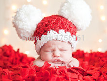 Christmas Santa Hat Baby red Hat Girl and Boy Toddler Hat Pom Pom Hat newborn baby