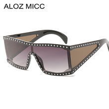 ALOZ MICC 2019 New Italy Women Oversize Square Sunglasses Luxury Crystal Shield Goggle Sun Glasses Flat Top Eyewear Q486