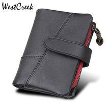 WESTCREEK Brand Crazy Horse Genuine Leather Anti RFID Men Zipper Short Wallets Fashion Hasp Large Capacity Mens Wallet