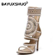 BAYUXSHUO Arrived Vogue Women Shoes Classic Color block Rivets High Heel  Sandals Sexy Stiletto Pumps Party Wedding Shoes Woman f983147a5bb1