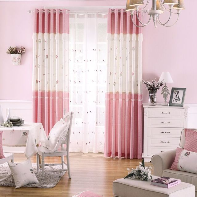 Custom Curtains Blackout Curtain Patterns Princess Rustic Embroidry Door  Curtain Girls Panel Drapes Pink Blind Fabric