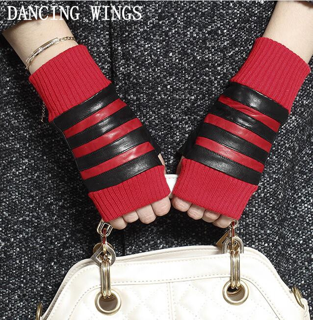 Autumn And Winter Women's Genuine Sheepskin Leather Gloves Lady's Wrist Warm Semi-finger Leather Gloves Sexy Fingerless Gloves