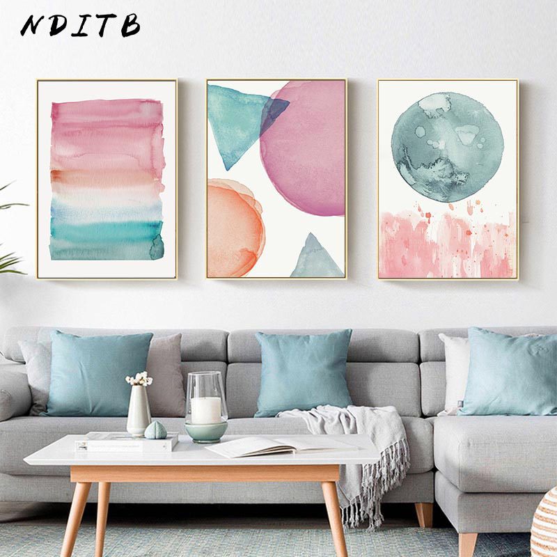 Modern stil suluboya soyut şekli duvar posteri tuval baskı dekoratif boyama çağdaş sanat ev dekorasyon resim