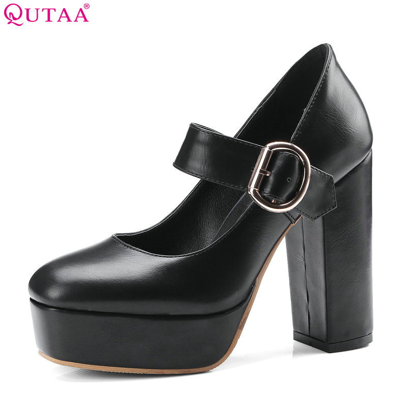 QUTAA 2018 Women Pumps Platform Synthetic Fashion Square High Heel Round Toe Casual Wedding Shoes Ladies Pumps Size 34-42 nayiduyun women genuine leather wedge high heel pumps platform creepers round toe slip on casual shoes boots wedge sneakers