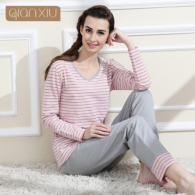 Qianxiu марка пижама хлопок полосы пижамы с длинным рукавом салон одежда о-образным вырезом женщины пижамы установить