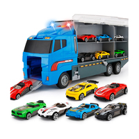 Kids Alloy model Toys Car Diecast Metal truck Hauler with 6 small Cars Children Car Model Storage Box
