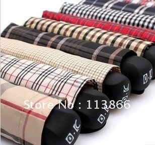 Free shipping! Japanese folding umbrella, men's business Plaid umbrella,  classic checkered.