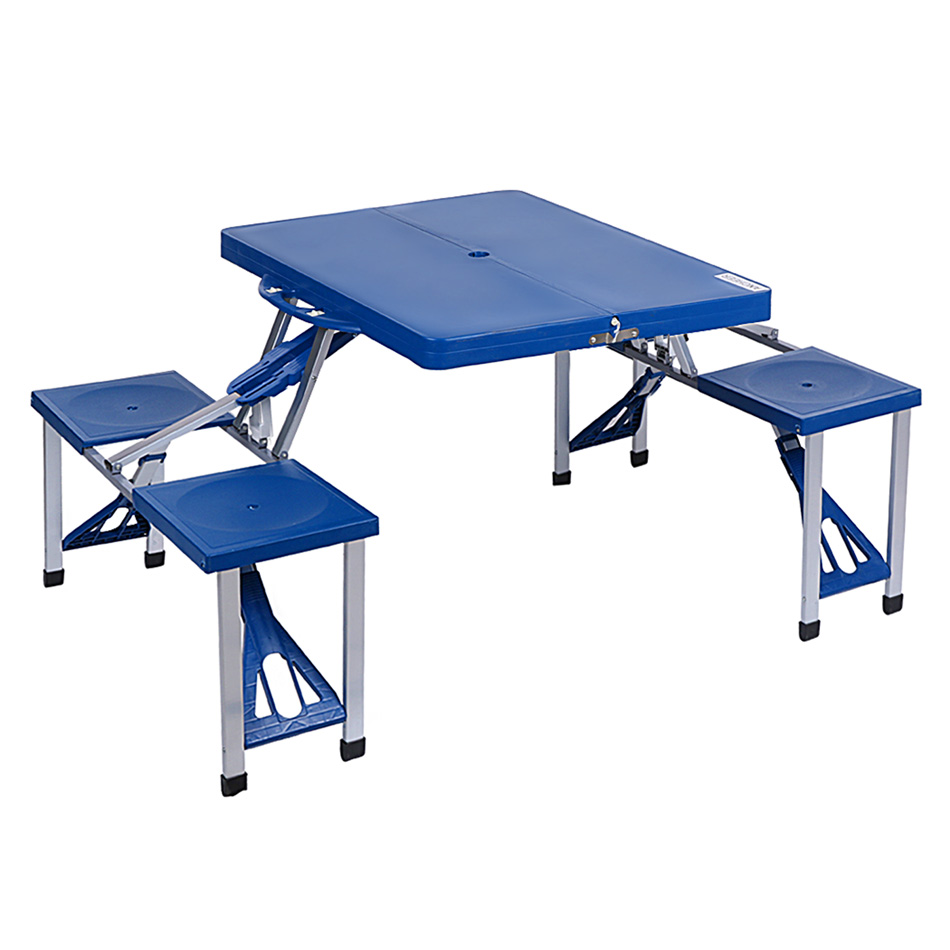 high quality abs folding table set portable outdoor camp suitcase picnic table 4 seats blue - Folding Table And Chairs