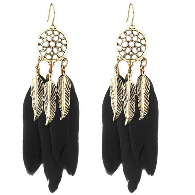 Women Dream Catcher Long Feather Drop Earrings Tibetan Gold Color Statement Earring Dangle Leaf Tel Bohemian