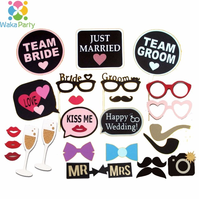 Set of 26 Happy Wedding Photo Booth Props Just Married