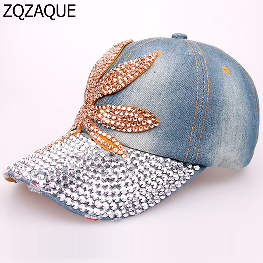 Humble Very Nice Maple Leaf Rhinestone Denim Baseball Caps Retail And Wholesale High Quality Ladies Exquisite Drill Decorated Hat Sy576 Women's Baseball Caps