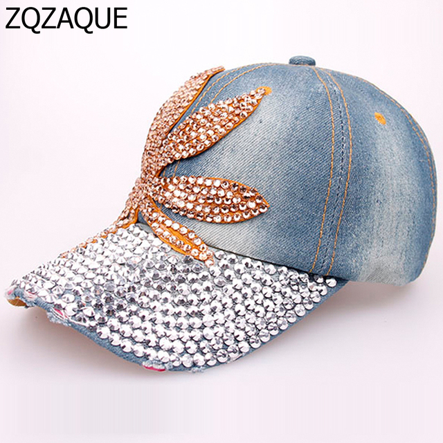 Very Nice Maple Leaf Rhinestone Denim Baseball Caps Retail and Wholesale  High Quality Ladies Exquisite Drill Decorated Hat SY576 c31a78f5c35