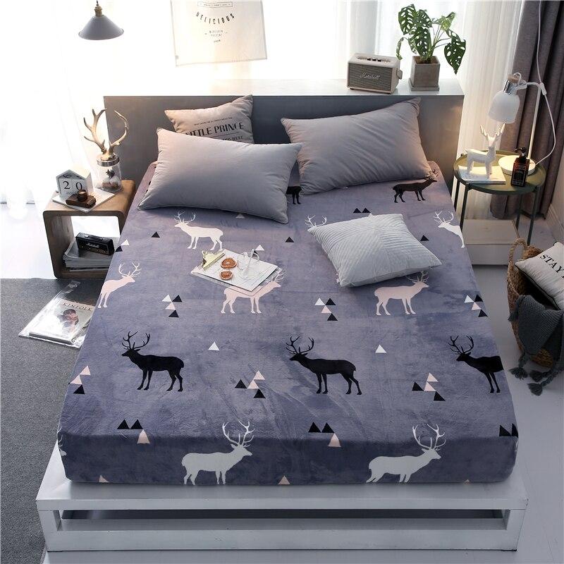 Offre spéciale 100% Polyester hiver drap de lit avec bande élastique matelas protecteur impression drap housse matelas couverture draps - 6