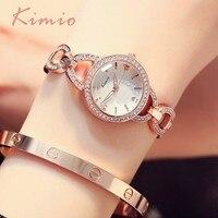 KIMIO 독특한 중공 팔찌 모조 다이아몬드 사랑 규모의 여성 시계 최고 브랜드 럭셔리 골드 시계 여성 드레스 여성 시계
