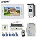 JERUAN NEW 7 inch LCD video doorphone intercom System kit 1 white monitor RFID Access Camera 180KG Magnetic lock FREE SHIPPING