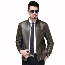 New Trend Men Outerwear 2019 Spring Autumn Slim Korean Motorcycle Coats Leisure Handsome Mens Thin Leather Jacket Round neck YH3