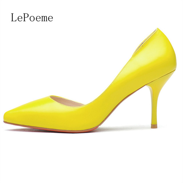 Red Bottoms Full Grain Leather Thin Heels Pumps Black Whits Pink Yellow 2016 Latest Two-Piece Pointed Toe Shallow Mouth Sexy