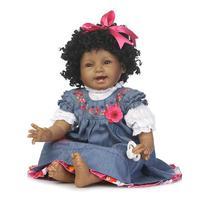 Nueva 55 cm precioso Negro Princesa de la Muchacha de Piel de Silicona Suave Muñecas Realistas Bebés Recién Nacidos Vivos Bebe Reborn Baby Doll