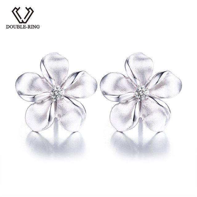 DOUBLE-R Real 925 Sterling Silver Stud Earrings Created white Topaz Fine Wedding