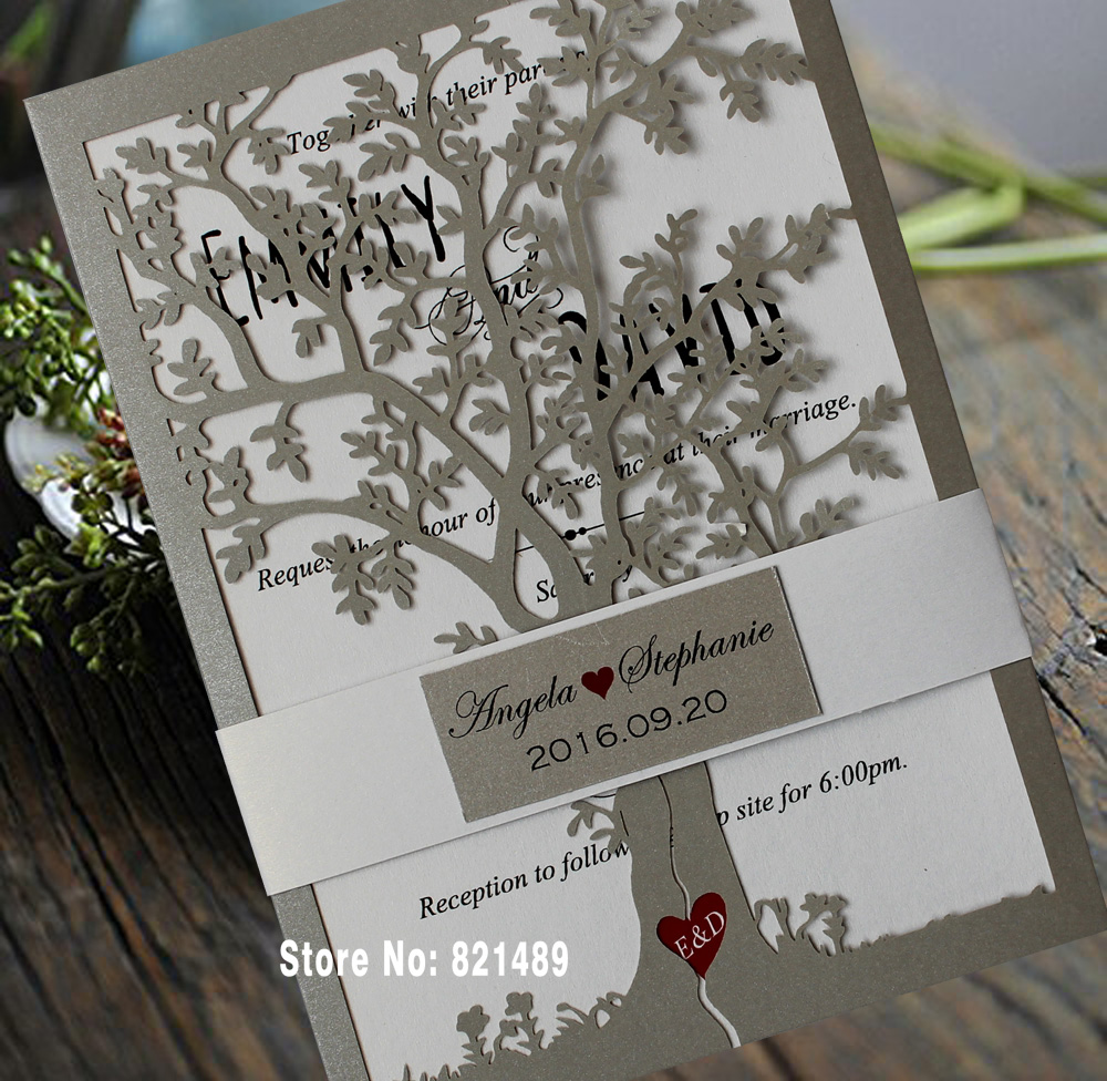 Us 125 0 Loving Tree Wedding Invitations Bridal Shower Invitation Cards Printable Silver Wedding Invitation Card Set Of 50 In Cards Invitations