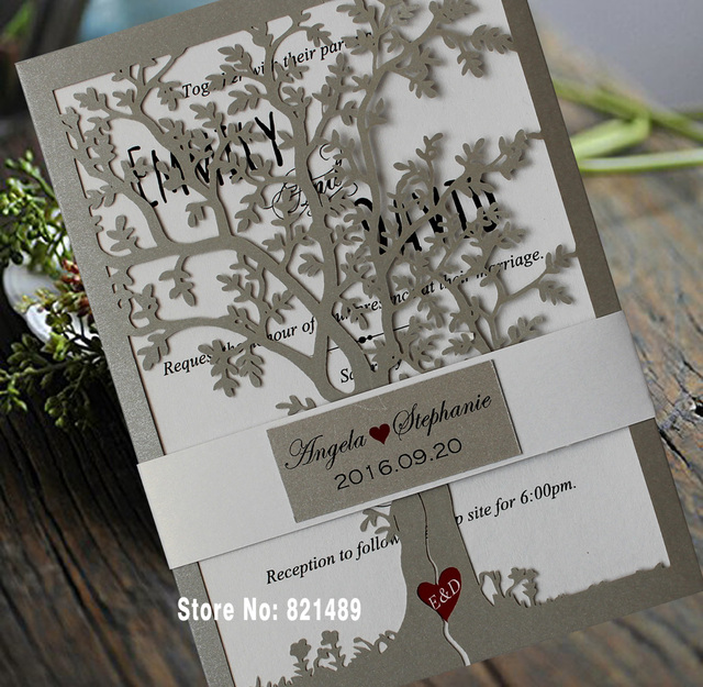 Loving Tree Wedding Invitations Bridal Shower Invitation Cards Printable Silver Card