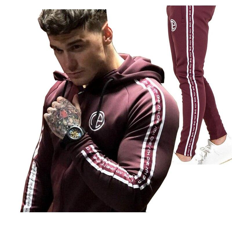 2018 ensembles pour hommes vêtements de sport à la mode survêtements hommes sportif porter Hoodies + pantalon veste décontractée costumes