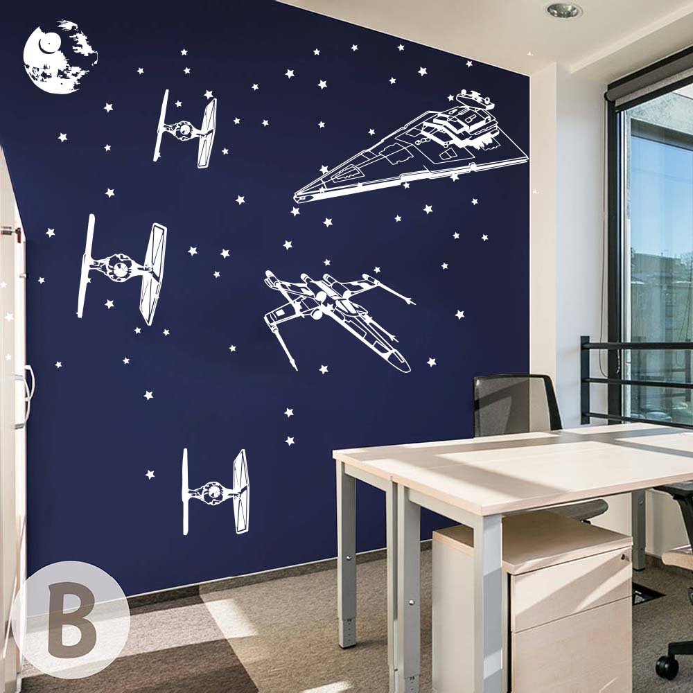 Cartoon Star Wars Spacecraft Star fighters  Wall Decal Boy Room Kids Room Star Wars Airplane Aircraft X Wing Wall Sticker Vinyl  (5)