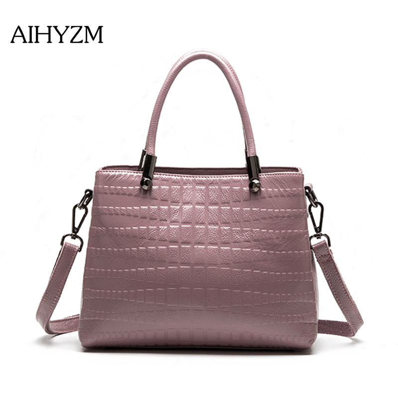 AIHYZM Fashion Bags For Women 2018 Genuine Leather Women Handbag Crocodile Pattern Three Layer Shoulder Bag OL Designer Tote Bag hahmes 100% genuine leather women s handbag crocodile pattern designer female real cow leather tote bag 28cm 10763