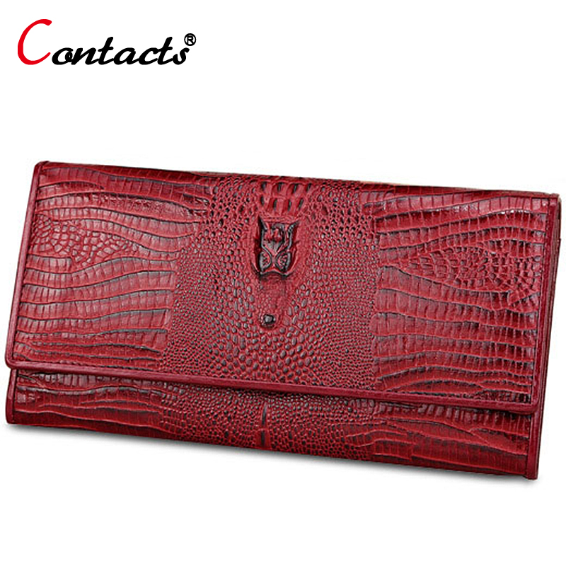 CONTACT'S Crocodile Clutch Women Wallet Female Genuine Leather Wallet Women Purse Long Red Coin Purse Phone Credit Card Holder luxury long genuine leather wallet women bag crocodile pattern women s wallets cowhide bank credit card holder purse coin purse