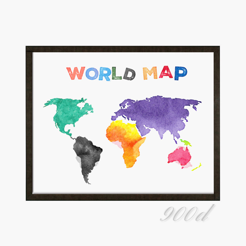 Colorful cartoon world map spring rain art print poster wall colorful cartoon world map spring rain art print poster wall pictures for home decoration print on canvas wall decor 343 in painting calligraphy from gumiabroncs Images