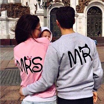 sweatshirt hoodies harajuku Fashion 2015 Print MR and MRS Lovers Couples Sweatshirts for Autumn Men and Women tracksuits