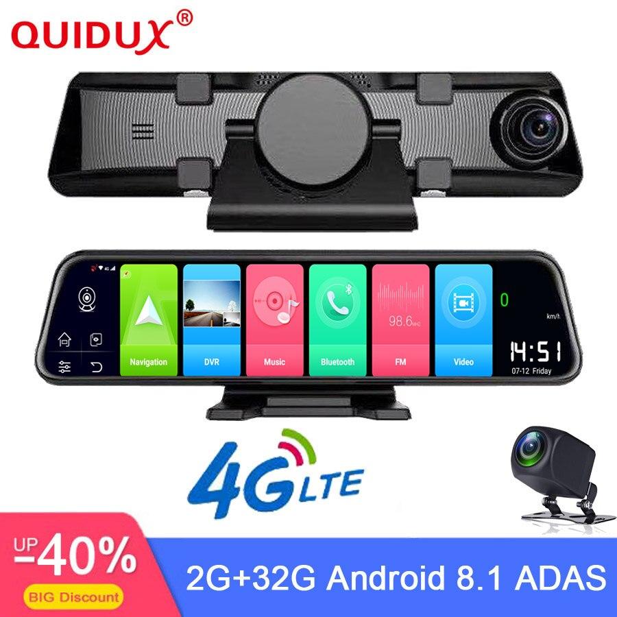 QUIDUX 4G Android 8.1 caméra de tableau de bord 12 pouces rétroviseur GPS Navigation FHD 1080P voiture DVR enregistreur vidéo enregistreur WiFi 2 + 32