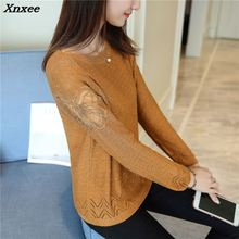 Xnxee 2018 women fashion sweater new butterfly lace sleeve  autumn Korean