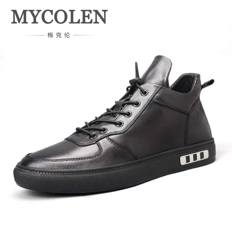 MYCOLEN Spring Autumn 2018 New Fashion Round Toe Casual Shoes Men Breathable Lace-Up Flats Men Casual Shoes Zapatillas Hombre 2017 men shoes fashion genuine leather oxfords shoes men s flats lace up men dress shoes spring autumn hombre wedding sapatos