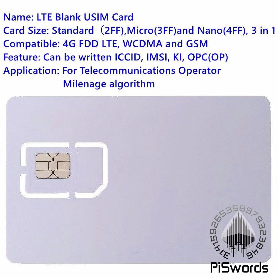 Piswords SIM-карта, USIM-карта 4G LTE WCDMA GSM пустая мини нано-микро-записываемая программируемая SIM-карта для оператора, микрофон Milenage