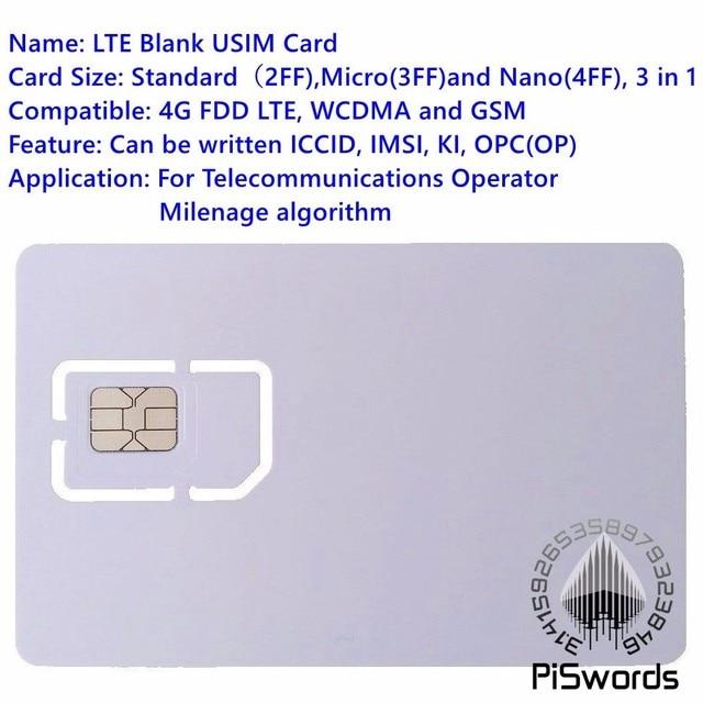 Tarjeta SIM USIM de Piswords 4G LTE WCDMA GSM Blank Mini tarjeta SIM micro grabable Nano para el algoritmo de milenaje del operador
