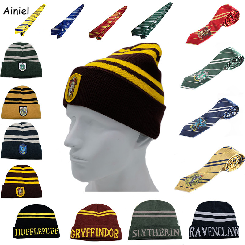 Hogwarts School Hats Ties Gryffindor Slytherin Hufflepuff Ravenclaw Cap Cosplay Costumes Hermione for Men Women Boy Girl Scarf
