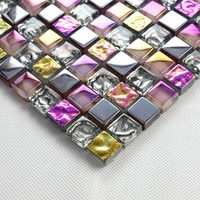 Iridescent purple seven color symphony silver electroplate crystal glass mosaic tiles for kitchen backsplash decoration HMGM1033
