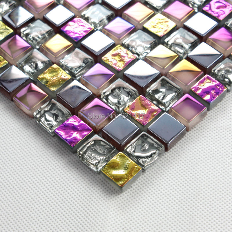 Purple Tile Backsplash Glass Mosaic Art Kitchen Tiles: Iridescent Purple Seven Color Symphony Silver Electroplate