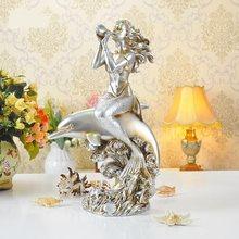 ESTATUILLA Vintage de sirena y Delfín, resina decorativa, música, Seamaid estatuilla, ornamento marino novedoso, regalo y accesorios para manualidades