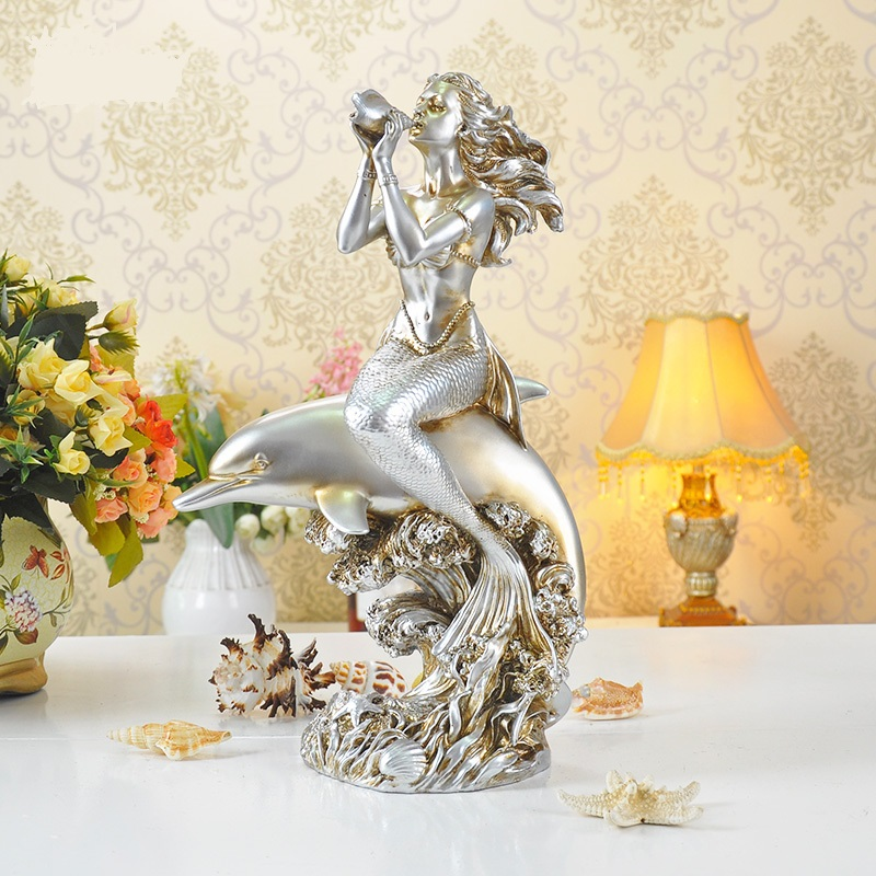 Vintage Mermaid and Dolphin Figurine Decorative Resin Music Seamaid Statuette Novelty Marine Ornament Gift and Craft Accessories