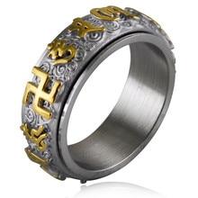 3 цвета 316L нержавеющая сталь золото серебро мантра амулет спиннер кольца для мужчин тибетский буддизм свастика ом мани падме хум