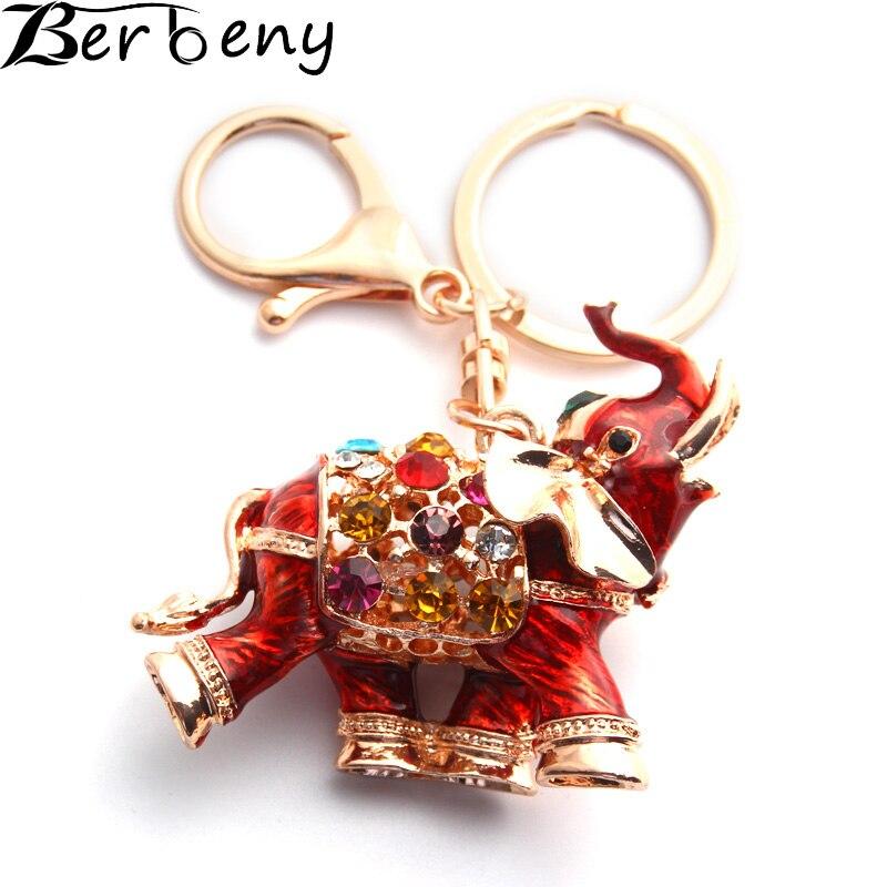 Berbeny 3D de Bon Augure Éléphant Porte-clés Chaînes L'ensemble Émail Coloré Cristal Sac Pendentif Porte-clés Porte-clés Pour Femmes K280