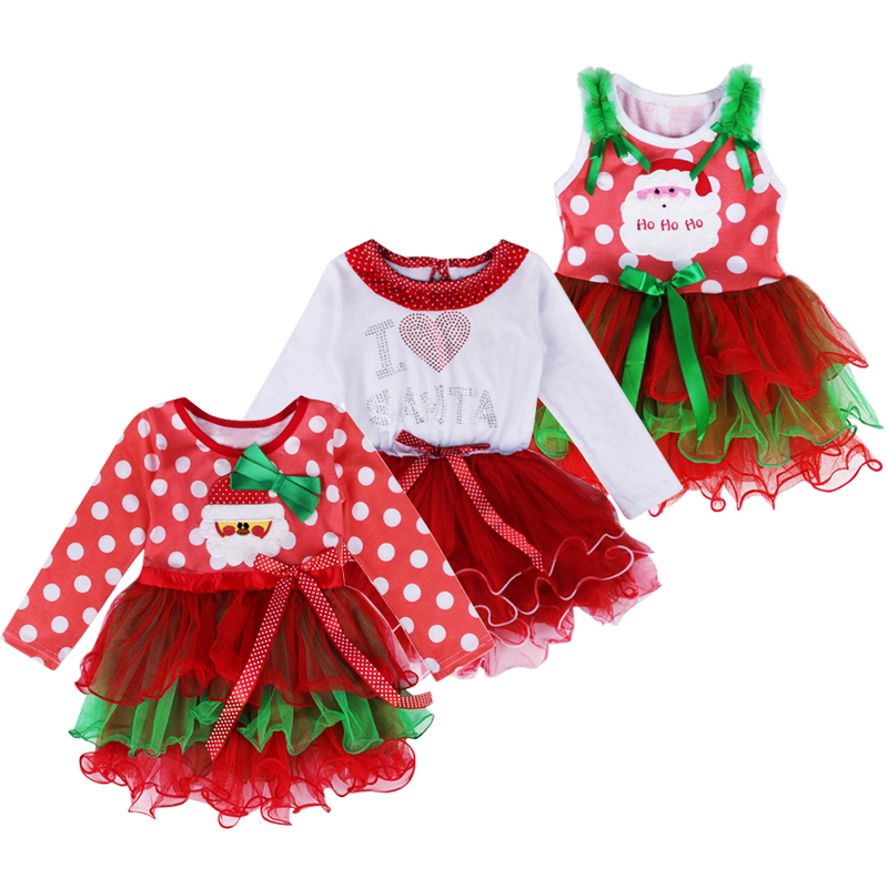 Christmas girls dress cute santa claus baby tutu