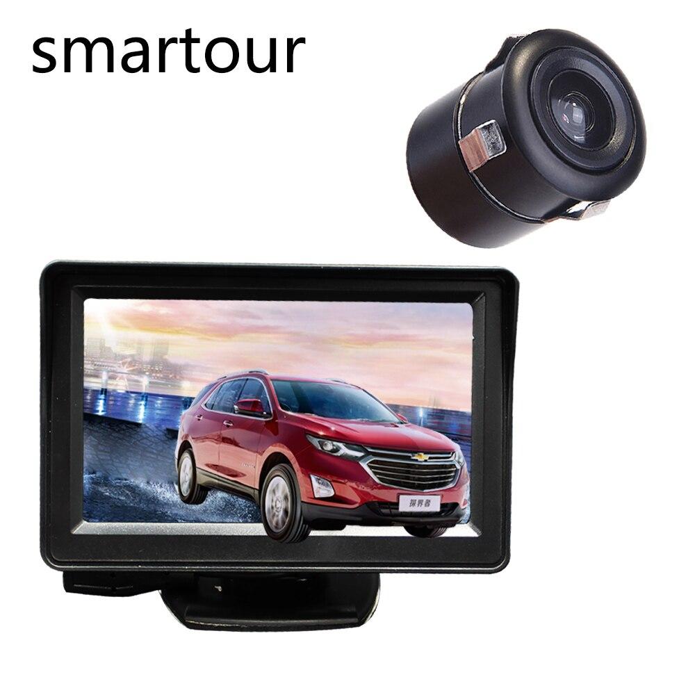 Smartour kamera samochodowa uniwersalna lampa LED HD widok z tyłu kamera cofania i parkowania 4.3TFT LCD monitor samochodowy parking syst
