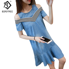 Trumpet Women Denim Dresses Summer Striped Patchwork Off Shoulder Office Lady A Line Dresses Plus Sizes 5XL Jeans Dress D7N115A