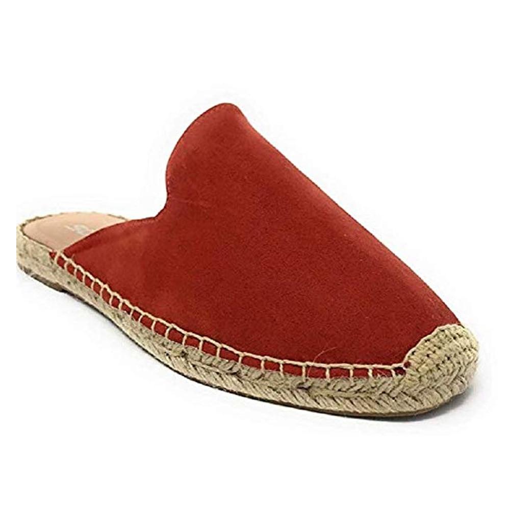 HEFLASHOR Summer Flats Mule Feminino Lady Sandals Slippers Espadrilles Canvas Pointed Toe Women Slipper Shoes  Slides Dropship