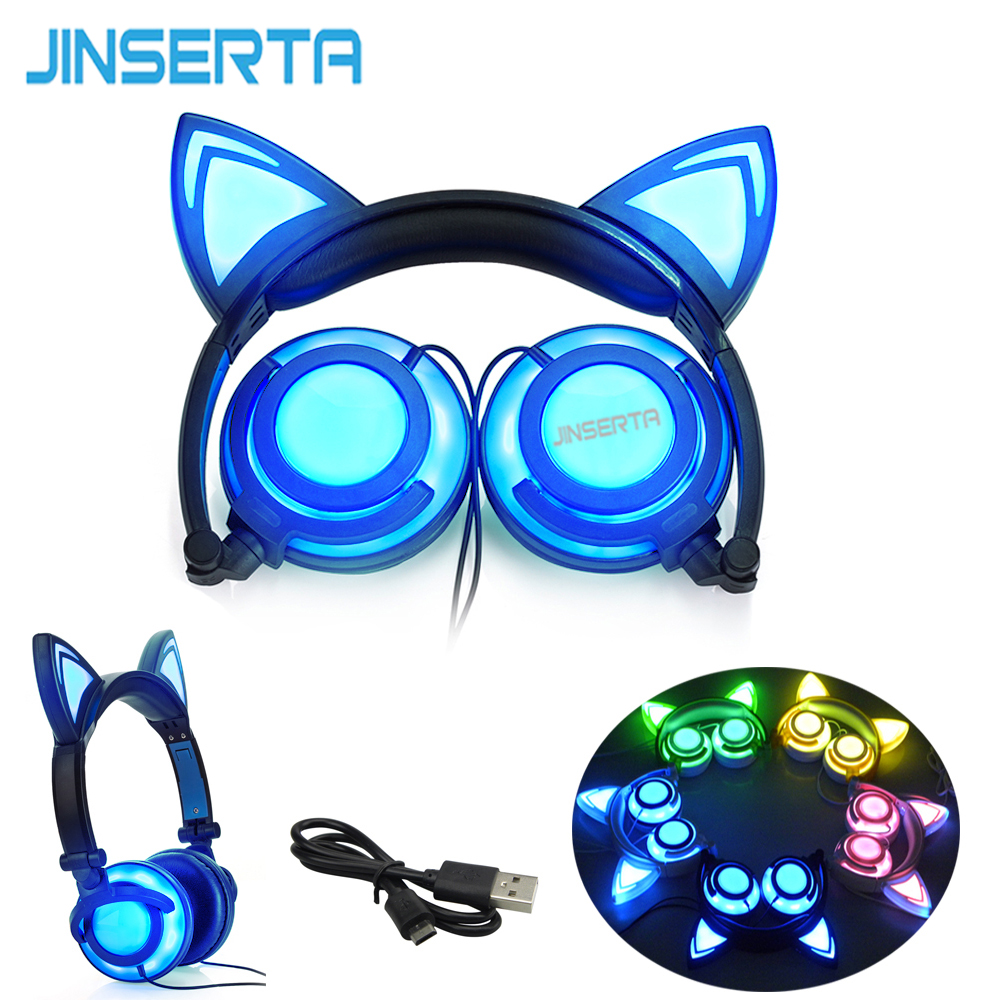 купить JINSERTA 2018 Foldable Flashing Glowing cat ear headphone Gaming Headset Earphone with LED light For PC Laptop Computer Phone онлайн
