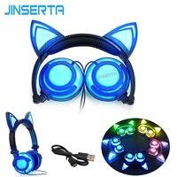 Jinserta 2017折りたたみ点滅グローイング猫耳ヘッドフォンゲーミングヘッドセットイヤホン付きledライト用pcラップトップコンピュータ電話