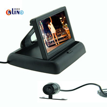 1 Unidades Plegable de 4.3 Pulgadas TFT LCD Mini Monitor de Aparcamiento con Vehículo de Visión Trasera Cámara de Reserva de Marcha Atrás para el Sistema de Auto Reversa